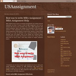 USAassignment: Best way to write MBA Assignment