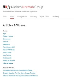 Usability & UX Articles from Nielsen Norman Group