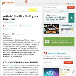 10 Useful Usability Findings and Guidelines « Smashing Magazine