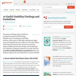 10 Useful Usability Findings and Guidelines