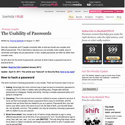 The Usability of Passwords (by @baekdal) #tips