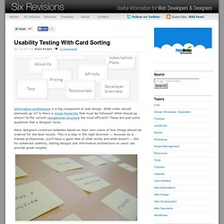 Usability Testing With Card Sorting