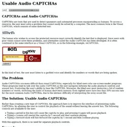 Usable Audio CAPTCHAs
