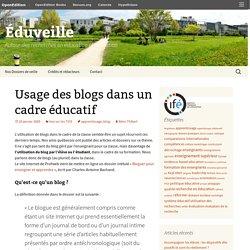 Usage des blogs dans un cadre éducatif