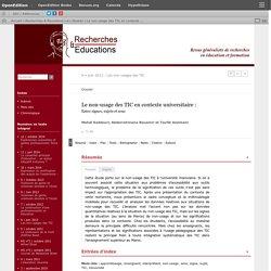 Le non-usage des TIC en contexte universitaire: