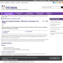 Bilan de l'expérimentation manuels numériques via l'ENT (2009-2014) - Eduscol
