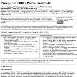 L'usage des TUIC à l'école maternelle – IUFM Grenoble