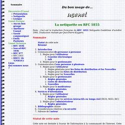 Du bon usage de Usenet : rfc 1855 ou La Netiquette