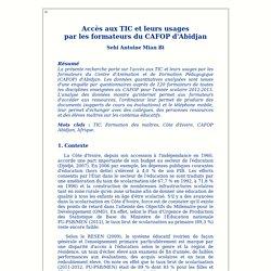 Accès aux TIC et leurs usages par les formateurs du CAFOP d'Abidjan