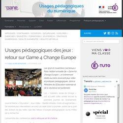 Usages pédagogiques des jeux : retour sur Game 4 Change Europe