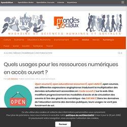 Quels usages pour les ressources numériques en accès ouvert ?