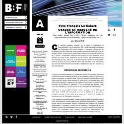 Yves François le Coadic Usages et usagers de l'information