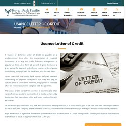 Usance Letter of Credit - Royal Bank Pacific