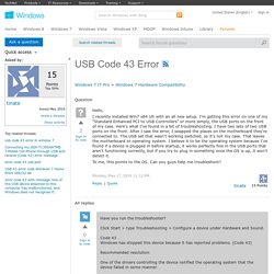 USB Code 43 Error