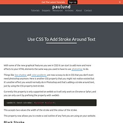 Use CSS To Add Stroke Around Text