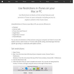 Use Restrictions in iTunes on your Mac or PC