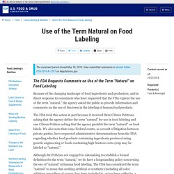 Use of the Term Natural on Food Labeling