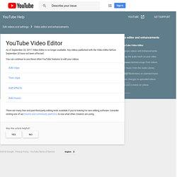 YouTube Video Editor - YouTube Help