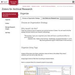 Use Zotero for Archival Research - Zotero for Archival Research