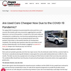 Are Used Cars Cheaper Now Due to the COVID-19 Pandemic?