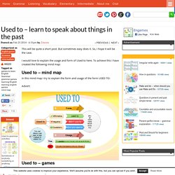 Used to - learn to speak about things in the past