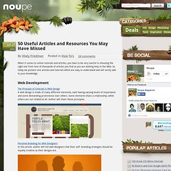 50 Useful Articles and Resources You May Have Missed - Noupe Design Blog