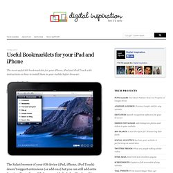 Useful Bookmarklets for your iPad, iPhone and iPod Touch Browser