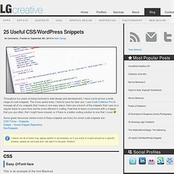 25 Useful CSS/Wordpress Snippets