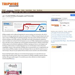 Very Useful HTML5 Tutorials, Techniques and Examples for Web Developers — tripwire magazine
