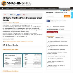 28 Useful Front End Web Developer Cheat Sheets