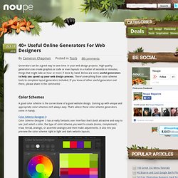 40 Useful Online Generators For Web Designers - Noupe Design Blog