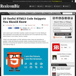 20 Useful HTML5 Code Snippets You Should Know