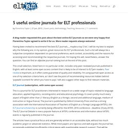 5 useful online journals for ELT professionals