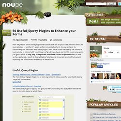 50 Useful jQuery Plugins to Enhance your Forms - Noupe Design Blog
