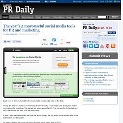 The year's 5 most-useful social media tools for PR and marketing