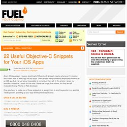 22 Useful Objective-C Snippets for Your iOS Apps