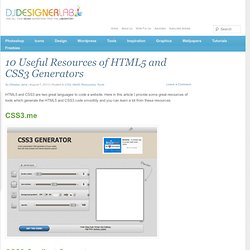 10 Useful Resources of HTML5 and CSS3 Generators