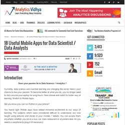 18 Useful Mobile Apps for Data Scientist / Data Analysts