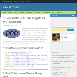 15 very useful PHP code snippets for PHP developers | ViralPatel.net