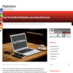 Top 10 Useful Websites you should know