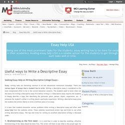 Useful ways to Write a Descriptive Essay