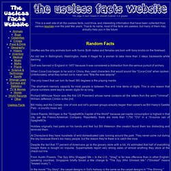 Completely Useless, Yet Interesting, Facts Collection