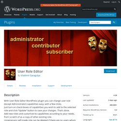 User Role Editor — WordPress Plugins