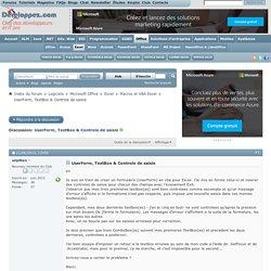 UserForm, TextBox & Controle de saisie