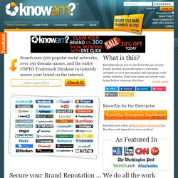 KnowEm Username Check - Secure your Brand or Online Identity on
