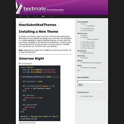 Themes / UserSubmittedThemes browse — TextMate Wiki
