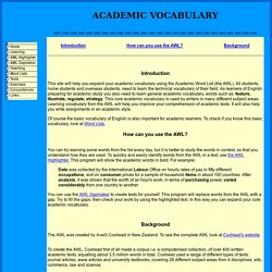 Using the Academic Word List