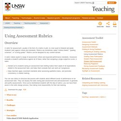 Using Assessment Rubrics
