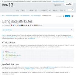 Using data attributes - Web developer guide