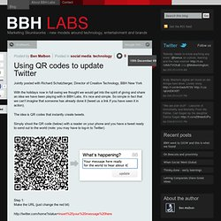Using QR codes to update Twitter